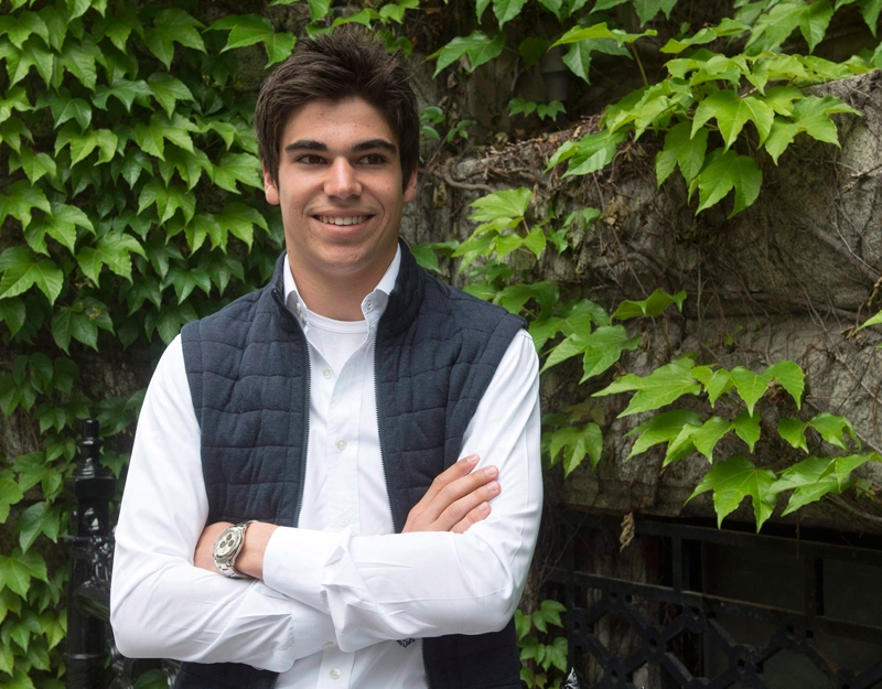Lance Stroll poses for photos before a news conference, June 8, 2016 in Montreal. (THE CANADIAN PRESS / Ryan Remiorz)