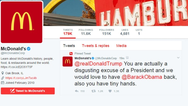 McDonald's Trump tweet