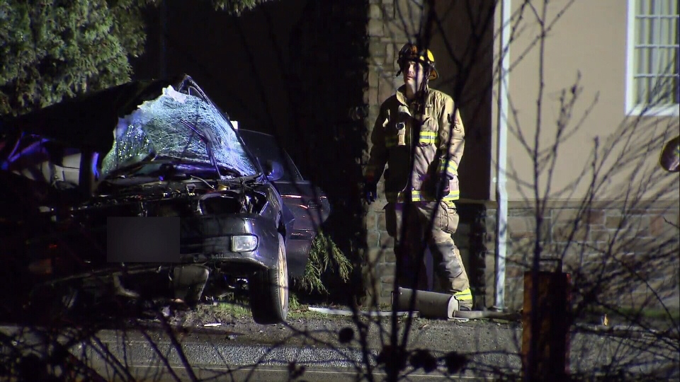 Two people were killed in a single-vehicle crash on Canada Way in Burnaby. March 16, 2017. (CTV)