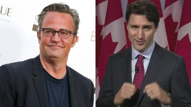 Actor Matthew Perry and Prime Minister Justin Trudeau are seen in this composite image. (The Canadian Press / The Associated Press)