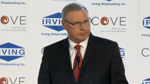 Kevin McCoy, president of Irving Shipbuilding, announces that his company will contribute $4.52 million to the Centre for Ocean Ventures and Entrepreneurship in Dartmouth on March 16, 2017.