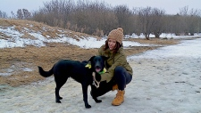 Hanna Neufeld plays and her dog, King