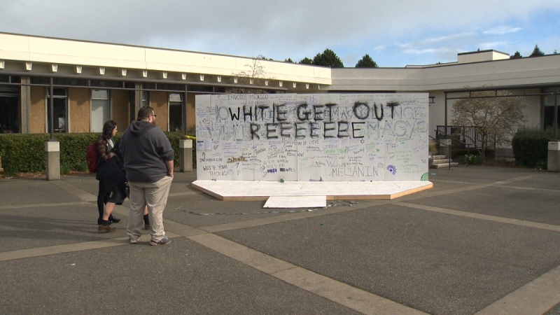 Students arriving at the UVic campus Thursday morning noticed large spray-painted words covering much of the art installation that read 'Whitie Get Out.' March 16, 2017. (CTV Vancouver Island)