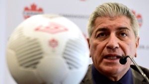 Octavio Zambrano speaks at a press conference after being named by Canada Soccer as the new head coach of the Men's National Team in Toronto on Friday, March 17, 2017. (Frank Gunn/The Canadian Press)
