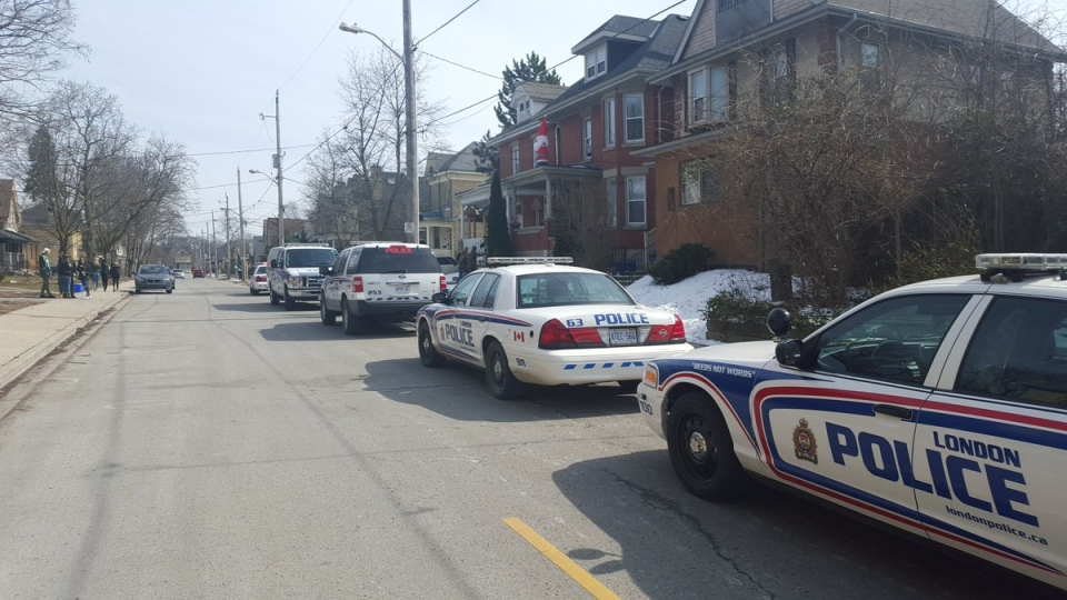 Police clear out a neighbourhood party. (Courtesy LPS)