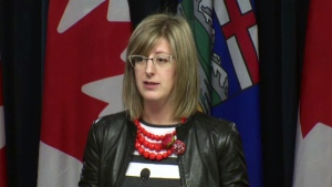 Service Alberta Minister Stephanie McLean at an Alberta legislature press conference in December, 2016.