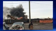 Plume of smoke - Calgary Metal Recycling Inc.