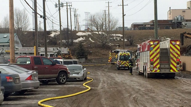 Fire engines at the scene of Friday afternoon's explosion at Calgary Metal Recycling