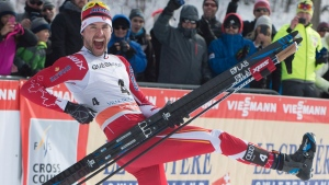 Alex Harvey was ecstatic after winning the 1.5 km freestyle sprint race, Friday, March 17, 2017 at the FIS World Cup cross country finals in Quebec City. THE CANADIAN PRESS/Jacques Boissinot