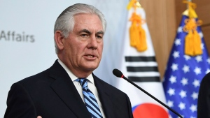 US Secretary of State Rex Tillerson, left, speaks as South Korean Foreign Minister Yun Byung-se looks on during a press conference in Seoul, Friday, March 17, 2017. Tillerson visited the world's most heavily armed border, greeting U.S. soldiers on guard near the tense buffer zone between rivals North and South Korea. (Jung Yeon-Je/Pool Photo via AP)