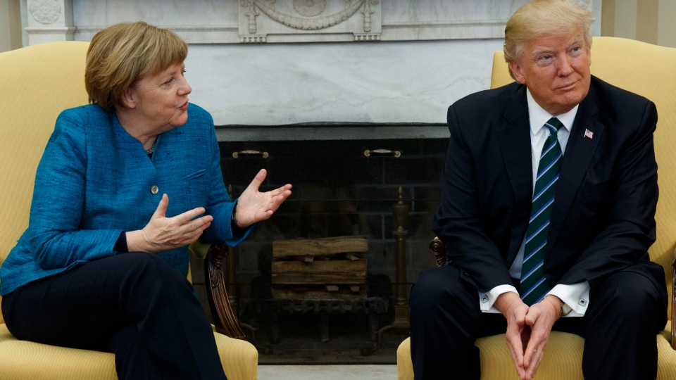 President Donald Trump meets with German Chancellor Angela Merkel in the Oval Office of the White House in Washington, Friday, March 17, 2017. (Evan Vucci/THE ASSOCIATED PRESS)