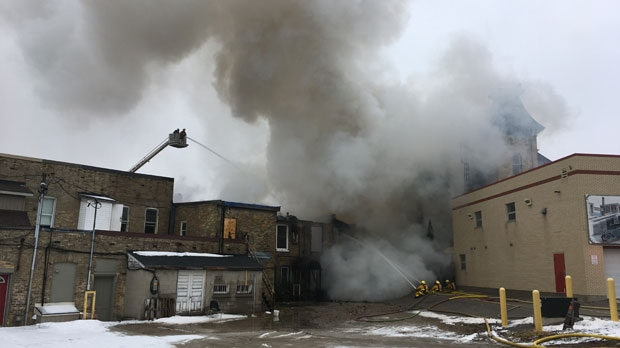 OPP said no other structures have been affected by the fire, and there were no reported injuries. (Nadia Matos/ CTV Kitchener)
