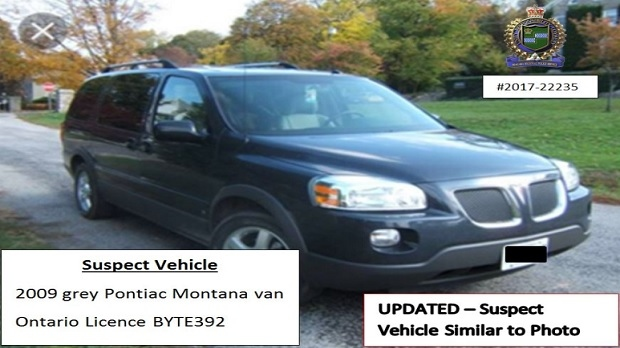 The Niagara Regional Police Service said they believe a suspect accused of attempted murder at a bank in St. Catharines fled the scene in a grey Pontiac Montana van, similar to the one shown in this photo.