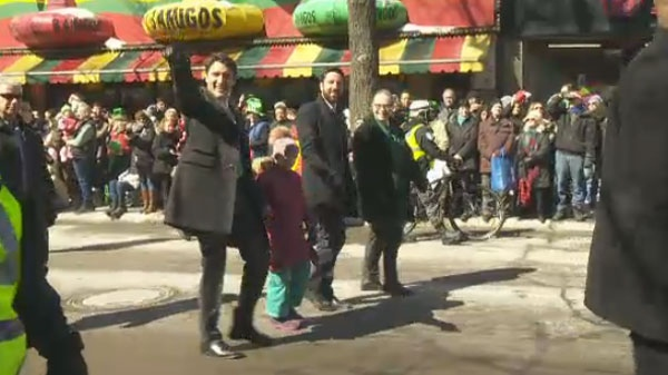 Prime Minister Justin Trudeau marches in Montreal's 194th St. Patrick's Day Parade on Sunday.