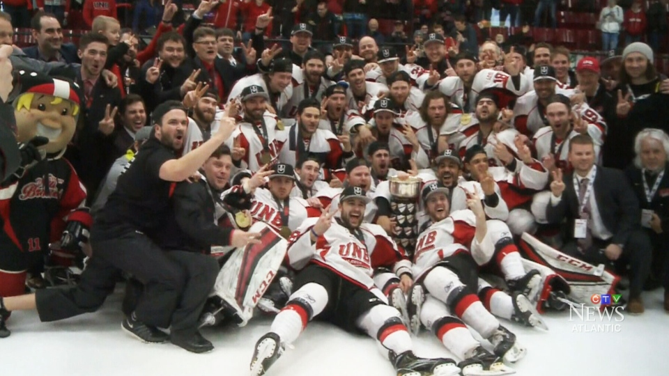 The University of New Brunswick celebrate their second-straight men's hockey national championship on Sunday, March 19, 2017.