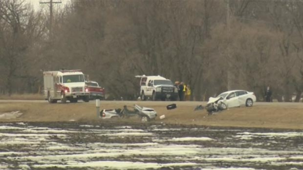 Head-on crash south of Winkler
