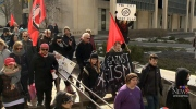 Tension as protesters clash at city hall