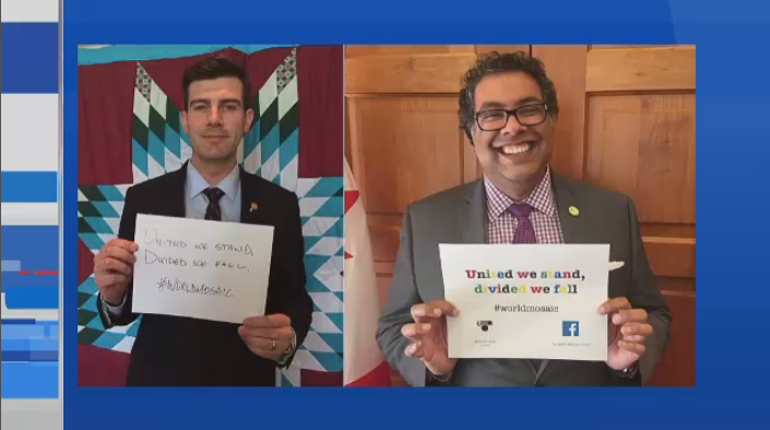 Edmonton Mayor Don Iveson and Calgary Mayor Naheed Nenshi participating in the Mosaic Campaign.