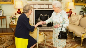 Queen Elizabeth II meets U.K. Prime Minister Theresa May on Dec. 23, 2016.
