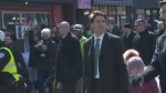 Prime Minister Justin Trudeau in Montreal's 194th St. Patrick's Parade.