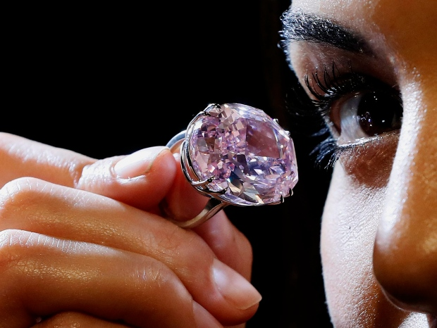 Pink diamond worth millions shown ahead of auction