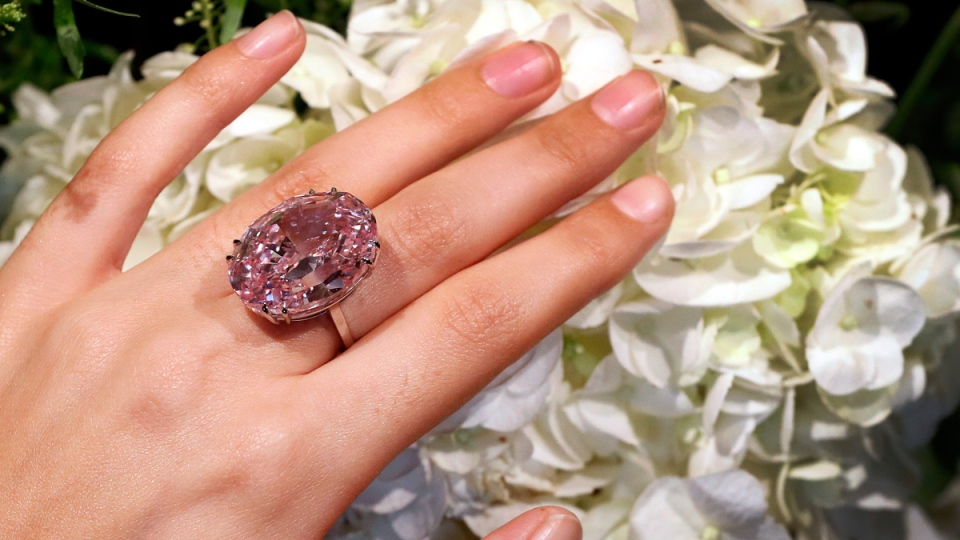 The Pink Star diamond, the most valuable cut diamond ever offered at auction in London, on March 20, 2017. (Kirsty Wigglesworth / AP)