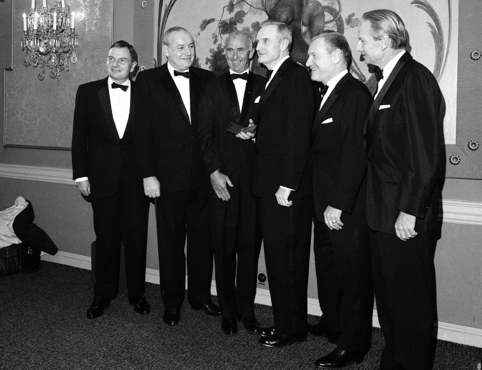 In this Nov. 28, 1967, file photo, the five Rockefeller Brothers pose for photos in New York as they gather to receive gold medals from the National Institute of social sciences. (AP Photo/File)