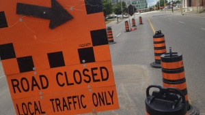 A 'road closed' sign is seen on Victoria Street in Kitchener on Friday, July 15, 2016. (Dan Lauckner / CTV Kitchener)