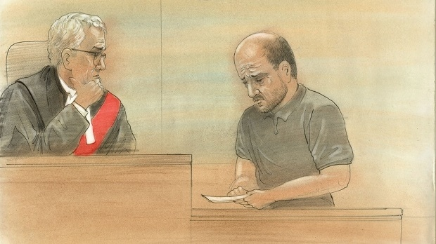 The father of a 12-year-old girl who was killed in a crash in Caledon in July 2016 reads a statement before the court where a teen boy is being sentenced. (Sketch by John Mantha)