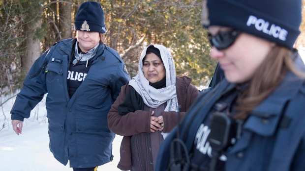 A woman arrested at Canada-U.S. border