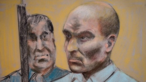 Bertrand Charest, who faces a total of 56 charges involving 11 young females, is seen on a court drawing during a bail hearing on March 16, 2015 in St-Jerome, Que. Lawyers for former ski coach Bertrand Charest said Thursday they still didn't know whether he will testify at his sex assault trial. Defence lawyer Jacky-Eric Salvant said the decision will be made over the weekend. THE CANADIAN PRESS/Mike McLaughlin