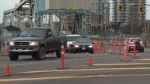 On Monday, crews began a project to complete curb, gutter and sidewalk work between Wharf Street and the approach to the new bridge. March 20, 2017. (CTV Vancouver Island)