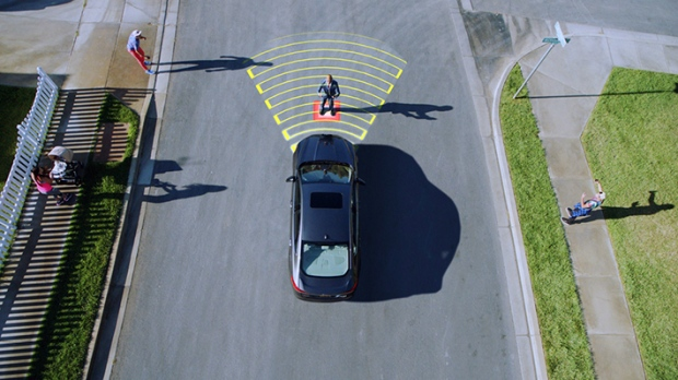 Ford's new Pedestrian Detection technology is seen in this provided image. © Courtesy of Ford