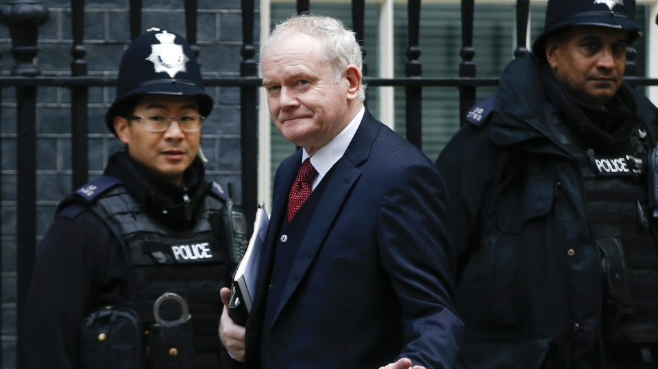 In this Oct. 24, 2016 file photo, Northern Ireland's deputy First minister Martin McGuinness arrives to Downing Street, for a meeting with Britain's Prime Minister Theresa May, and the Brexit Secretary David Davies about Britain's decision to leave the EU in London. (AP / Alastair Grant, File)