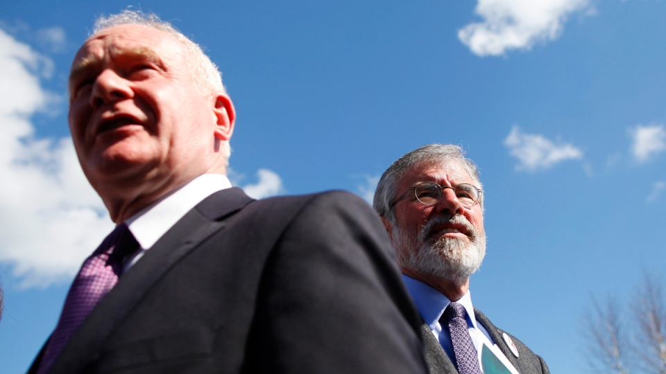 Gerry Adams, right, and Martin McGuinness in Dungannon, Northern Ireland, on April 20, 2015. (Peter Morrison / AP)