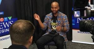 Kevin Glenn talks to Lee Jones during the first CFL Week in Regina. (GARETH DILLISTONE/CTV REGINA)