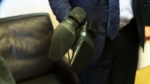 Saskatchewan Finance Minister Kevin Doherty will sport a pair of resoled shoes when he tables what is widely expected to be a deficit budget this week. (WAYNE MANTYKA/CTV REGINA)