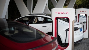 A Tesla Model S is seen charging in this undated photo. (Johannes Eisele/AFP Photo)