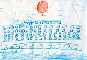 Weather art by Han, age 8, from Maywood Elementary.