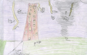 Weather art by Kianna, age 9 (in 2012), from King Traditional Elementary School.