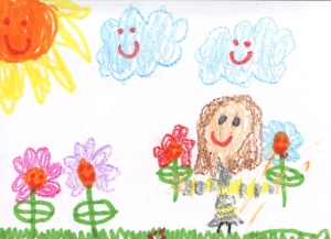 Weather art by Malia, age 5, from Lord Roberts Elementary.