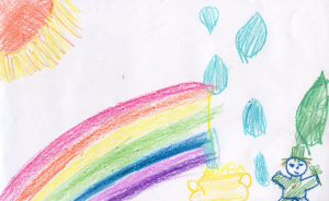 Weather art by Catherine, age 8, from Suncrest Elementary.
