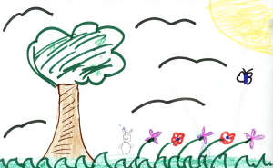 Weather art by Ava, age 10, from Sir James Elementary School.
