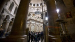 The renovated Edicule is seen in the Church of the Holy Sepulchre, traditionally believed to be the site of the crucifixion of Jesus Christ, in Jerusalem's old city Monday, Mar. 20, 2017. (AP / Sebastian Scheiner)