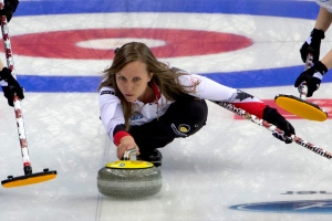Canada's Rachel Homan releases a stone against Sweden during the CPT World Women's Curling Championship 2017 (WWCC) held in Beijing's Capital Gymnasium, Wednesday, March 22, 2017. (AP / Ng Han Guan)