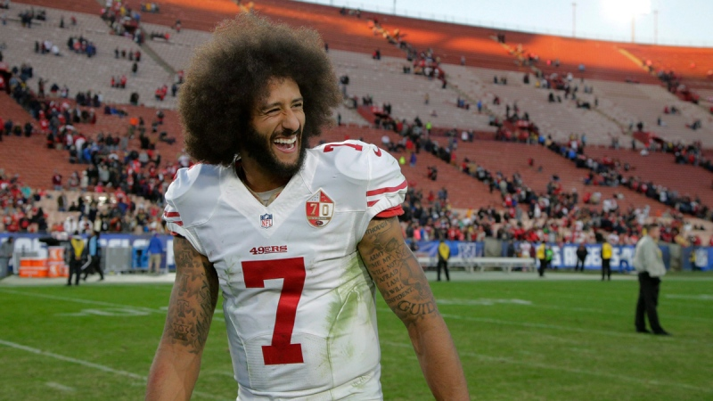 San Francisco 49ers quarterback Colin Kaepernick in Los Angeles, on Dec. 24, 2016. (Jae C. Hong / AP)