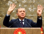Turkey's President Recep Tayyip Erdogan speaks during a meeting with local media representatives, in Ankara, Turkey, Wednesday, March 22, 2017. (Kayhan Ozer/Presidential Press Service, Pool Photo via AP)