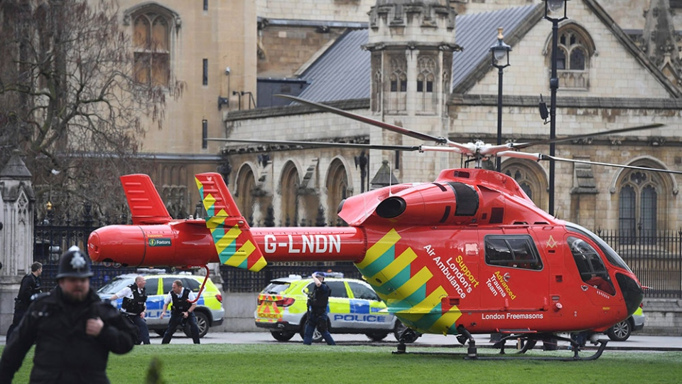 Air Ambulance arrives at the Houses of Parliament, London, on March 22, 2017. (Victoria Jones / PA via AP)