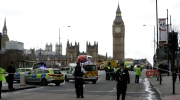 Police secure the area on the south side of Westminster Bridge close to the Houses of Parliament in London, on March 22, 2017. (Matt Dunham / AP)