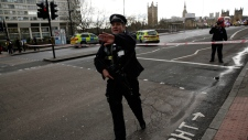 Police secure the area close to Westminster
